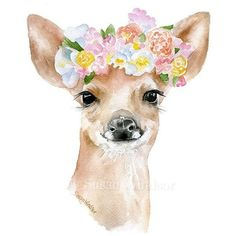 Deer Fawn with Flowers Watercolor ❤ liked on Polyvore featuring home, home decor, wall art, flower stem, blossom wall art, deer wall art, deer home decor and vertical wall art