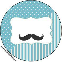 Rótulo para Latinhas, Tubetes e Toppers Chá de Bebê Mustache 1