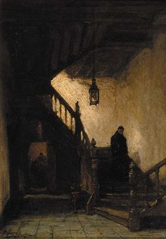 a monk descending a staircase, Johannes Bosboom. Dutch (1817 - 1891)