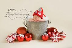Christmas hat - ornament hat, newborn baby, photography props. $30.00, via Etsy.