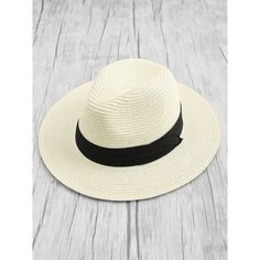 Contrast Band Straw Fedora Hat ($7) via Polyvore featuring accessories, hats, straw fedoras, fedora hat, straw hats and straw fedora hat