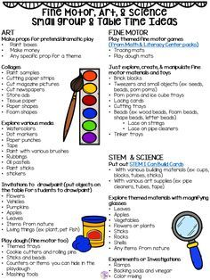Small group ideas, tips, and tricks to make small group time meaningful in your preschool, pre=k, or kindergarten classroom and a giant FREE idea list too. Small Group Activities, Pre K Activities, Preschool Learning Activities, Preschool Themes, Preschool Curriculum Free, Preschool Transitions, Daycare Curriculum, Childcare, Preschool Classroom Schedule