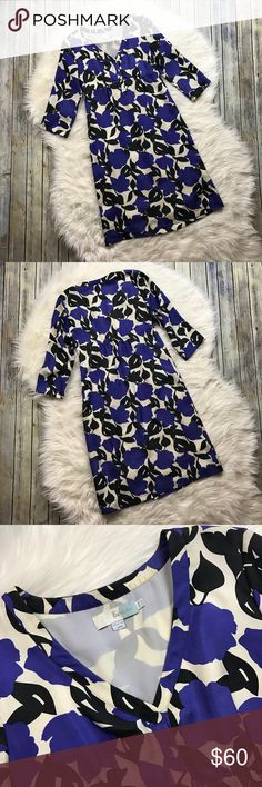"""Boden Blue Black Beige Floral Silk Dress Beautiful silk dress. It has 2 very very small marks on the front skirt section that are pictured (photos). Barely noticeable. Otherwise perfect. Super pretty cobalt blue flower pattern. 3/4 sleeve style. 100% silk shell (100% polyester lining). Size 6 long.   Measurements laying flat (without stretching)—  Armpit to armpit: 18"""" Waist: 15.5"""" Length, shoulder to hem: 41"""" Boden Dresses"""