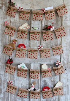 An easy tutorial for creating a no-sew Advent Calendar from burlap ribbon. Also includes ideas on how to make an Advent Calendar work for teens. Christmas Countdown, Christmas And New Year, All Things Christmas, Christmas Holidays, Christmas Decorations, Christmas Ornaments, Xmas, Burlap Decorations, Christmas Tables