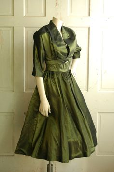 Olive green taffeta dress with matching jacket. #vintage