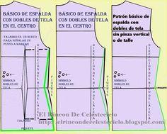 Patrón básico de espalda con dobles de tela eliminando pinza central