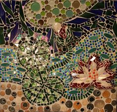 "Melissa Cole Fun Fine Art: ""Lotus and Koi Mosaic Mural"" in progress Philadelphia Magic Gardens, Dubai Garden, Enchanted Garden, Garden Gifts, Koi, Organic Gardening, Lotus, Fine Art, Ashley Massaro"
