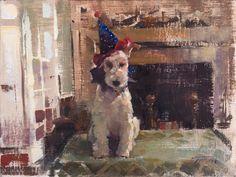 "Patrick Saunders, ""Birthday Boy"" (oil on linen, 9""x12"")."