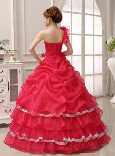 Charming One Shoulder Beading Zipper-Up Ball Gown Dress : Weddingshe.com
