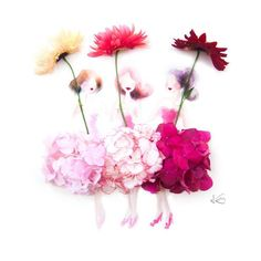 Illustration artist draws girls' dresses using real flowers Real Flowers, Dried Flowers, Beautiful Flowers, Pink Flowers, Art Sculpture, Pressed Flower Art, Illustration Artists, Flower Fashion, Flower Petals