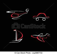 Vector - Car, Airplane, Boat and Helicopter  - stock illustration, royalty free illustrations, stock clip art icon, stock clipart icons, logo, line art, EPS picture, pictures, graphic, graphics, drawing, drawings, vector image, artwork, EPS vector art