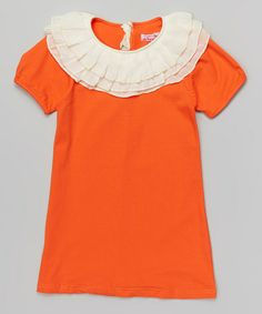 Love this Orange Lace Collar Dress - Toddler & Girls on #zulily! #zulilyfinds