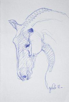 Sketch 175 OOAK Horse Head Blue ballpoint pen Drawing. €15.00, via Etsy.