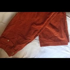 "BEAUTIFUL burnt orange flare 70's style cords such cute low rise flare jeans. orange corduroy with 2 buttons, 2 pockets on front and back. so comfortable. tag says medium but 32"" waist. just a bit too big on me Vintage Pants Wide Leg"