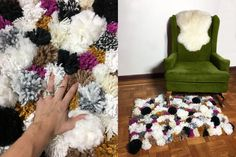 A woman wraps yarn around leftover toilet paper tubes and look what she does in her living room!