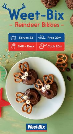 Get in the holiday spirit with these tasty Reindeer Bikkies. Packed with the goodness of Weet-Bix and rolled oats, they're a perfect fun and festive addition for your next party. Kids Christmas Treats, Christmas Party Food, Xmas Food, Christmas Cooking, Christmas Goodies, Christmas Recipes, Christmas Ideas, Christmas Sweets, Christmas Lunch