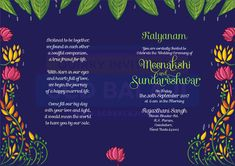 Traditional South Indian / Tamil Brahmin Wedding Invitation - Inner Pages design. wedding engagement hairstyles 2019 - wedding and engagement 2019 Indian Wedding Invitation Cards, Traditional Wedding Invitations, Indian Wedding Invitations, Wedding Invitation Design, Invitation Ideas, Invites, Invitation Wording, Wedding Card Design Indian, Indian Wedding Cards