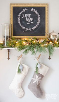 christmas stockings fireplace mantle decor small space night sign holy no Christmas decor small space sign holy night stockings no fireplace mantleYou can find Hanging stockings without a fireplace and more on our website Christmas Decorations For The Home, Christmas Mantels, Noel Christmas, Simple Christmas, All Things Christmas, Winter Christmas, Vintage Christmas, Christmas Stockings, Christmas Crafts