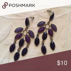 Purple Tear Drop Earrings Open to all offers! Bought this a long time ago and never got around to wearing them. Brand is not actually Anthropologie, has no brand name, but similar to that style! :)  Check out my page for more cute stuff! I usually sell clothing/accessories/jewelry/makeup! 💜 Anthropologie Jewelry Earrings