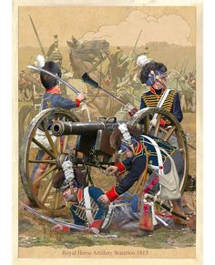H Battery (Ramsay's Troop) of Regiment Royal Horse Artillery at Battle of Waterloo (Belgium) Sunday June 1815 British Army Uniform, British Uniforms, British Soldier, Waterloo 1815, Battle Of Waterloo, Waterloo Belgium, Military Art, Military History, First French Empire