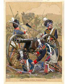 H Battery (Ramsay's Troop) of Regiment Royal Horse Artillery at Battle of Waterloo (Belgium) Sunday June 1815 British Army Uniform, British Uniforms, British Soldier, Waterloo 1815, Battle Of Waterloo, Waterloo Belgium, Military Art, Military History, Bataille De Waterloo