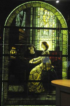 """""""Harmony"""" stained glass window by John Henry Dearle, Morris  Co., 1931. After Sir Frank Dicksee's painting of 1877. Displayed at the West Vancouver Memorial Library."""