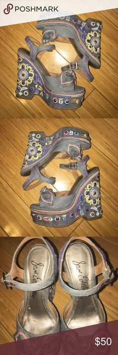 Authentic Sam Edelman Heels! Worn a couple of times. In great condition. No stains. Jean material. Sam Edelman Shoes Wedges