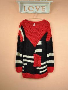 2012 autumn and winter female handmade big sweater color block pullover big sweater handmade sweater - 20763 on AliExpress.com. 5% off $33.79