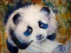 Купить Шерстяная живопись. Панда - панда, картина из шерсти, картина с пандой, шерстяная живопись