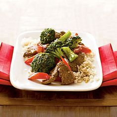 stir-fried beef with broccoli and bell peppers - of course, i added tons of other veggies too.  :)