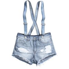 H&M Denim shorts with braces ($7.80) ❤ liked on Polyvore featuring shorts, bottoms, pants, overalls, light denim blue, short jean shorts, denim shorts overalls, blue overalls, overalls shorts and denim overalls