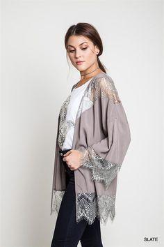 Gypsy Society Lace Kimono - Slate