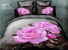 100% Cotton Lifelike Big Pink Roses Print 4 Piece Bedding Sets