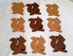 Streudeko,Eichhörnchen, Braun,9 Stück, ca. 4,5 x 4,0cm