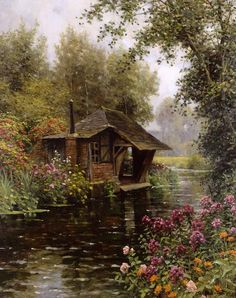 Louis Aston Knight Paintings-A Beaumont-le-Roger [At Beaumont-le-Roger]