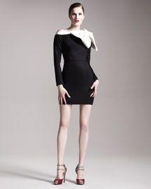 Valentino Bow-Shoulder Long-Sleeve Dress #fashion