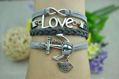 Silvery Anchor & Love Infinity Cuff Leather Bracelet Gray leather bracelet Silvery alloy jewelry  Fashion Bangle LB1130