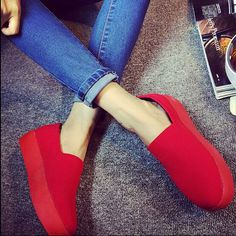 Women Girls High Platform Slip-On Simple Comfortable Pumps Casual Loafer Shoes