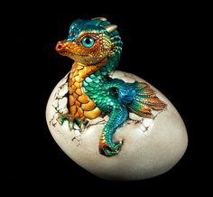 """Windstone Editions """"Jungle Flame"""" Hatching Empress Dragon Fantasy Animal Statue…"""