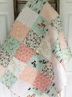 """mint green and b Handmade Baby Blanket~ Double FLANNEL~35/""""x41/""""~ Puppy Dogs~pink"""