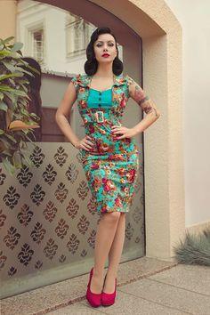 0e1c6a12f155a Lindy Bop 'Wynona' Stunning Vintage 1950's Style Flora Print Pencil Wiggle  Dress --