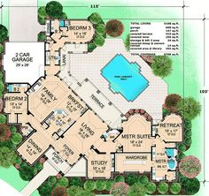 Rear-Facing Oasis with Master Retreat - 36121TX   European, Mediterranean, Luxury, Photo Gallery, Premium Collection, 1st Floor Master Suite, CAD Available, Den-Office-Library-Study, MBR Sitting Area, PDF, Split Bedrooms, Unusual Shape, Corner Lot   Architectural Designs