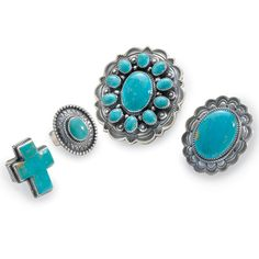 """Turquoise Ring - 11-Stone   2¼"""" W x 2½"""" H$429.00 $257.40  Turquoise Ring - Large Oval   1½"""" W x 2"""" H $209.00   $125.40  Turquoise Ring - Small Oval   1"""" W x 1¼"""" H $179.00 $107.40"""