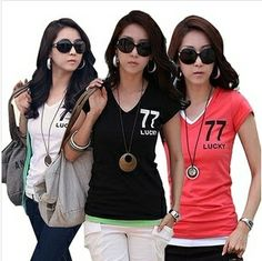 Hot Sale Promotion Women's V-neck Short Sleeve Women's T-Shirt Cotton Large Size 8 Colors Slim lady T-shirt Free Shipping B041