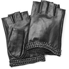 Karl Lagerfeld Fingerless Leather Gloves ($96) ❤ liked on Polyvore featuring accessories, gloves, black, leather gloves, black gloves, karl lagerfeld, black leather gloves and fingerless gloves