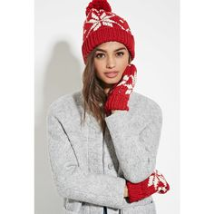Forever 21 Women's  Fair Isle Beanie and Mitten Set ($18) ❤ liked on Polyvore featuring accessories, hats, pom pom beanie, forever 21, forever 21 beanie, pattern hats et pom beanie