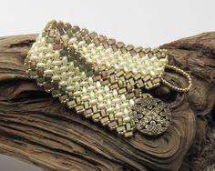SUPERDUO HALF TILA Herringbone Bracelet - Pearl Cream SuperDuos - Antique Bronze Matte Metallic Ab Half Tilas - Toho Seed Beads by CinfulBeadCreations on Etsy