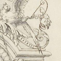Halve cartouche met putto en dieren, Anonymous, c. 1866 - c. 1900 - Rijksmuseum