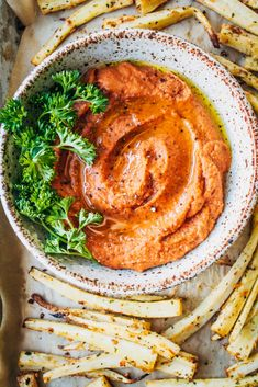 Parsnip Fries w/ Tomato Soup Hummus   Well and Full   #vegetarian #recipe