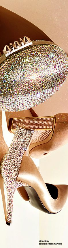 I am stunned by this bejeweled clutch and shoe combination, Glorious glow!